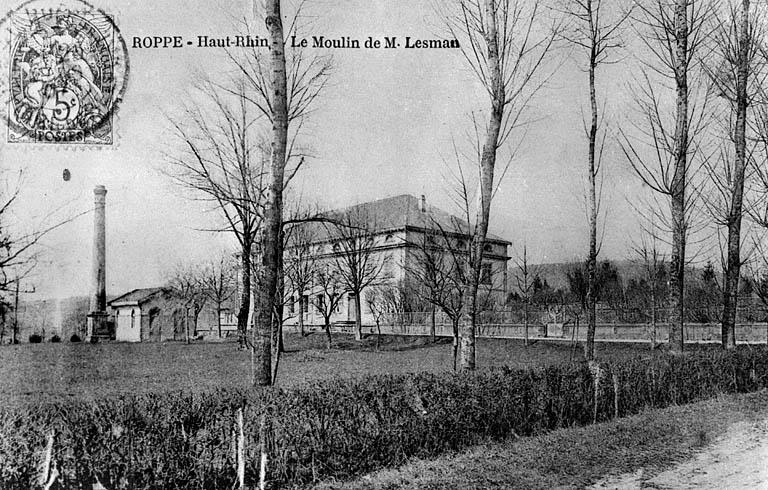 photo pour moulin à farine, usine de chaux (moulin à ciment) Lesmann, actuellement maison commune